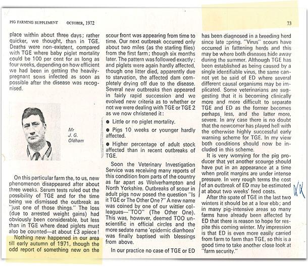 """W roku 1971 lekarz weterynarii (Oldham) napisał w brytyjskim czasopiśmie """"Pig farming supplement"""" krótki artykuł zatytułowany """"Jak to wszystko się zaczęło""""."""