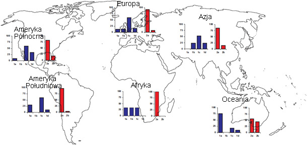 Geographic prevalences of different TTSuV strains