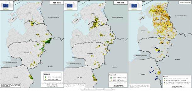 Wykresy 4, 5 i 6. Pojawianie się ognisk ASF od 2014 roku. Żródło wykresów: Komisja Europejska