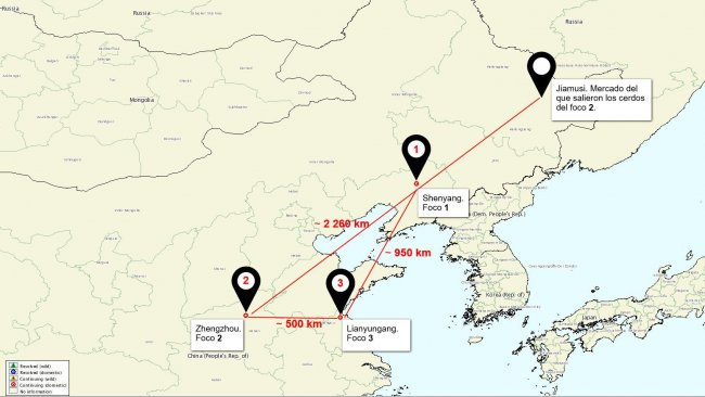 Location map of the ASF outbreaks in China