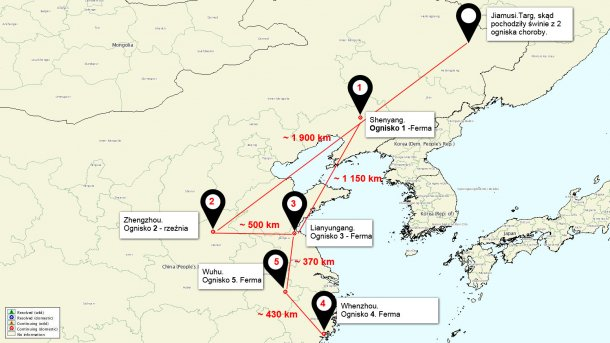 Map of the situation of the ASF outbreaks in China