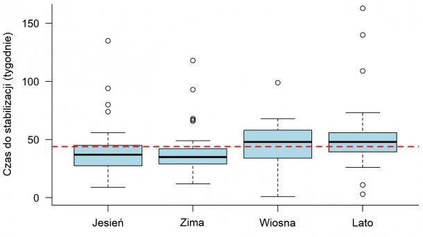Ryc 1: Wykres pudełkowy. Czas potrzebny do ustabilizowania PRRS obserwowany w zależności od pory roku, w której wybuchła choroba. Linia przerywana przedstawia ogólną wartość średnią (43,9 tygodnia). Każde pudełko reprezentuje 50% danych (percentyle 25-75), a czarna linia w środku reprezentuje medianę (percentyl 50), więc połowa ognisk miała TTS powyżej tej linii, a druga połowa poniżej tej linii dla każdej pory roku.