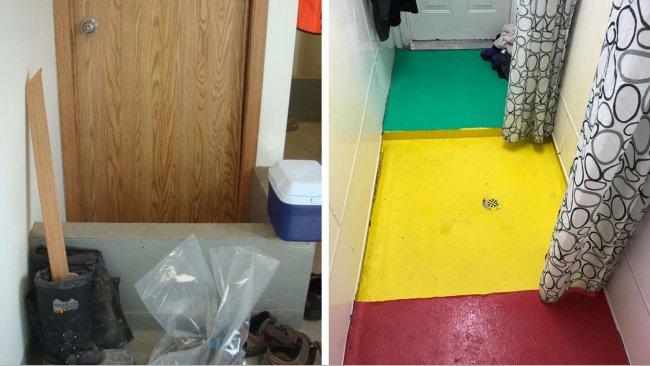 Lewa strona: Wyznaczanie stref w obrębie fermy. Wysoki próg przed drzwiami przypomina pracownikom o obowiązkowej zmianie obuwia, znajduje się pomiędzy wejściem na fermę( (strefa brudna) a pomieszczeniem z prysznicem. Zdjęcie dzięki uprzejmości Dr Tim Sinder. Prawa strona: Przykład granic strefy w obrębie pomieszczenia z prysznicem. Kolor czerwony- strefa brudna, kolor żółty- strefa przejściowa, kolor zielony- strefa czysta. Zdjęcie dzięki uprzejmości Mike Luyks, Kaslo Bay, PIC Boar Stud, Canada.