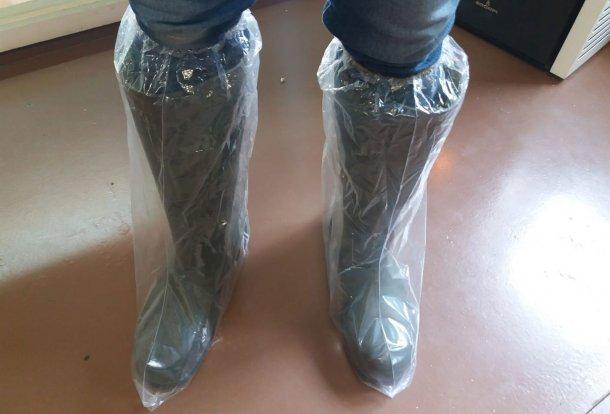 Zdjęcie 1. Plastikowe ochraniacze na buty zapobiegają kontaminacji krzyżowej przez obuwie.