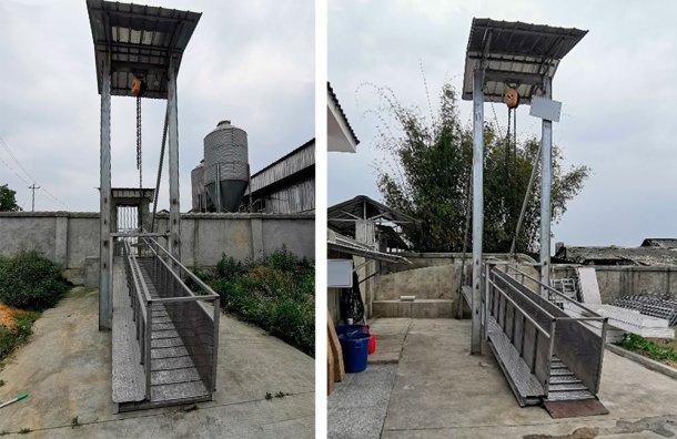 Rys. 5. Aluminiowa rampa przeładunkowa na obwodzie fermy, Chiny. Dzięki uprzejmości DanAg Group.