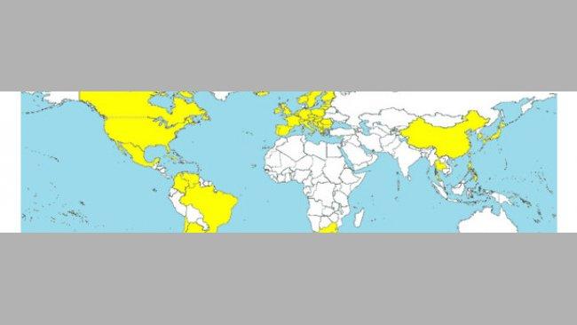 Kraje, w których rozpoznano PCV2-SD (zabarwione na żółto).
